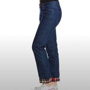 Prana Indigo Flannel Lined Boyfriend Jeans 14/32